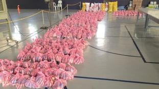bags on floor