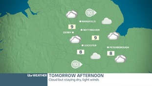 East Midlands Saturday afternoon forecast