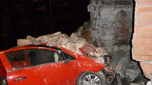 Car collides with historic Cheshire landmark