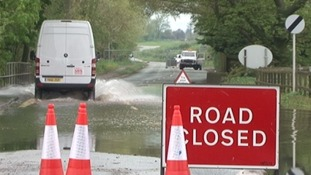 Flood water in the Midlands after heavy April rain