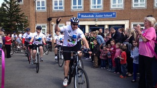 The start of a 104 mile cycle ride to raise money for charity