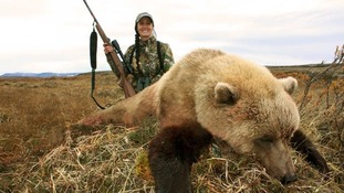 Bachman's caption read: My first Alaska brown bear... a beautiful and extremely blonde one to top it off