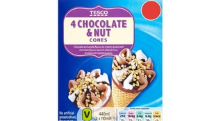Tesco's own-brand chocolate and nut ice cream cones