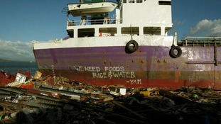 A ship that has been washed ashore in Tacloban, Philippines