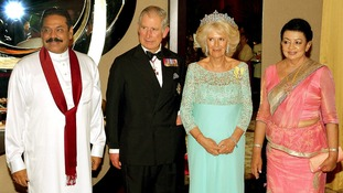 (L-R) President Mahinda Rajapaksa, the Prince of Wales, Duchess of Cornwall and First Lady Shiranthi