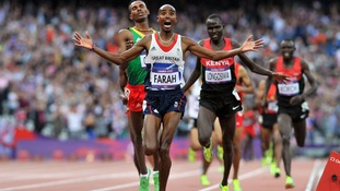 Mo Farah celebrates one of two gold medals in London last summer.