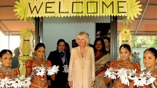 The Duchess of Cornwall during a visit to the Women in need centre in Colombo, Sri Lanka.