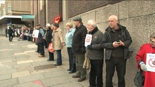 A human chain of campaigners stretched all the way around Barnsley library
