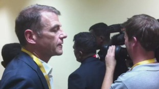 ITV correspondent Bill Neely was among the accredited journalists barred from entering today's conference with the Sri Lankan president.