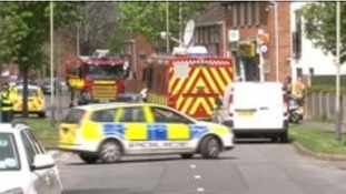 Emergency services attend the scene in Cheltenham