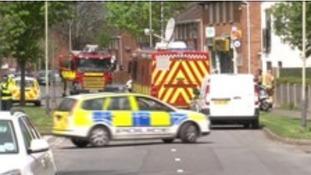 Emergency services attend the scene in Cheltenham