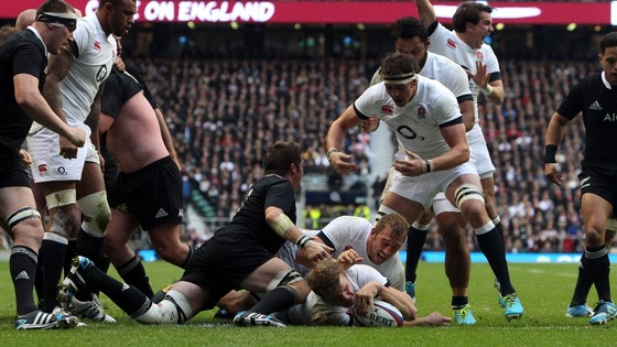 England second row Joe Launchbury scores a try against the All Blacks at Twickenham.