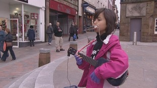 Young busker fundraises for Philippines