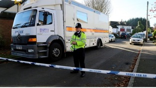 Police activity near the property in Warlingham, Surrey, yesterday.