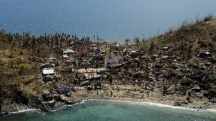 An area of devastation on a small island, taken by HMS Daring's Lynx helicopter.