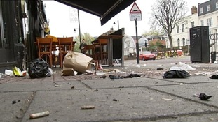 The mess on Clapham High Street 24 hours after it had been cleaned.