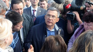 Tatarstan President Rustam Minnikhanov talks to the media in July 2011.