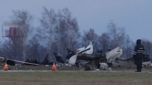 The wreckage of a Tatarstan Airlines Boeing 737 crash at Kazan airport in Russia.