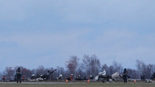 Debris still litters the crash site at Kazan airport in western Russia.