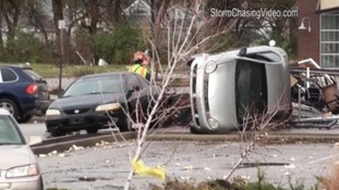 An overturned car in Lebanon, Indiana