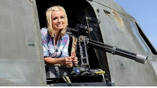 Katherine Jenkins poses during her three-day morale boosting mission to Camp Bastion.
