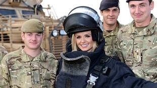 Katherine Jenkins meets the troops before her performance.