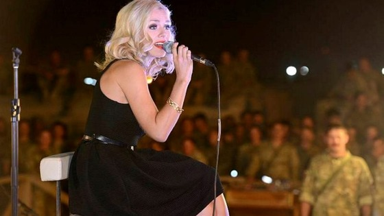 Katherine Jenkins performs at a special concert for hundreds of British troops at Camp Bastion.
