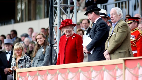 Queen Elizabeth II (centre) during the Royal Windsor Horse Show at Windsor Castle, Berkshire