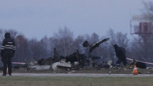 The crash site at Kazan airport in Russia.