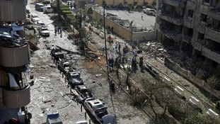 The site of explosions near the Iranian embassy in Beirut