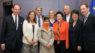 Malala with Phil Bennion MEP and members of the Alliance of Liberal Democrats for Europe (ALDE) group