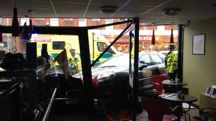 A bakery in Gorleston was given quite a shock this morning when a taxi crashed through its front window.