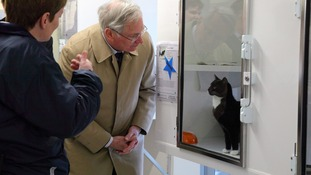 The Duke of Gloucester being shown round the new RSPCA centre