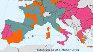 European aid map south