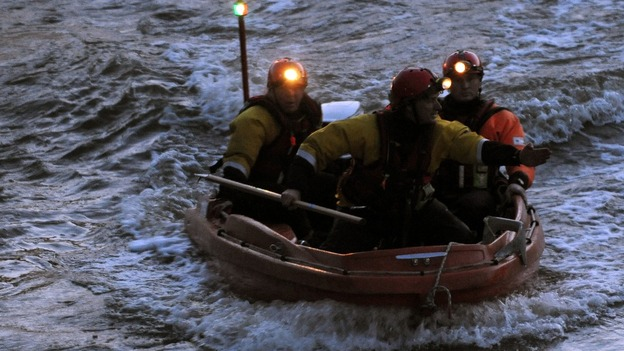 Search and rescue teams at Barford, near Warwick