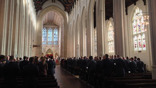 The ceremony at Bury St Edmunds cathedral today.