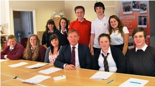 Chris Bryant with pupils