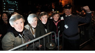 Partridge fans enjoying the switch on in Norwich City Centre.