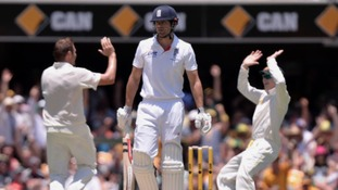Ryan Harris celebrates dismissing Alastair Cook.