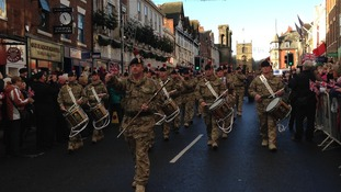 Soldiers march through Morpeth after returning from Afghanistan.
