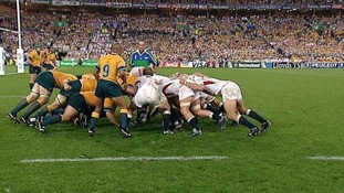 England win a scrum on the Australian line and draw a penalty