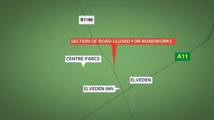 Closure of the B1106 at Elveden as part of the A11 dualling scheme.
