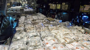 Headed for the Philippines: 500 tonnes of tarpaulins, water tanks, rice and biscuits.