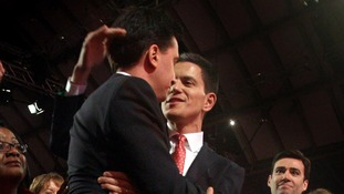 Ed Miliband being congratulated by his brother David when it was announced he had won the race for Labour leader.