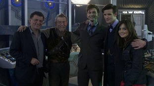 Executive producer Steven Moffat with Doctors John Hurt, David Tennant, Matt Smith and assistant Jenna-Louise Coleman.