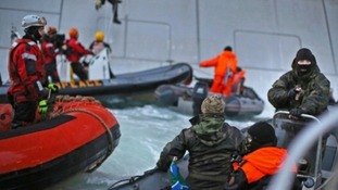 Greenpeace protesters had been attempting to board the Gazprom rig, due to start drilling the Russian Arctic imminently