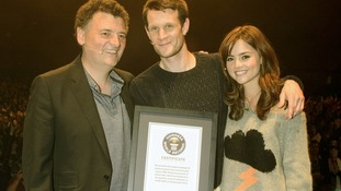 Executive producer Steven Moffat, the current Doctor Matt Smith and his assistant Jenna-Louise Coleman.