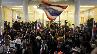 Anti-government protesters gather inside Thailand's Finance Ministry