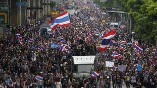 Anti-government protesters hold a rally in Bangkok