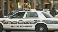 New Haven Police have blockaded  a street to the side of Yale University's Old Campus.